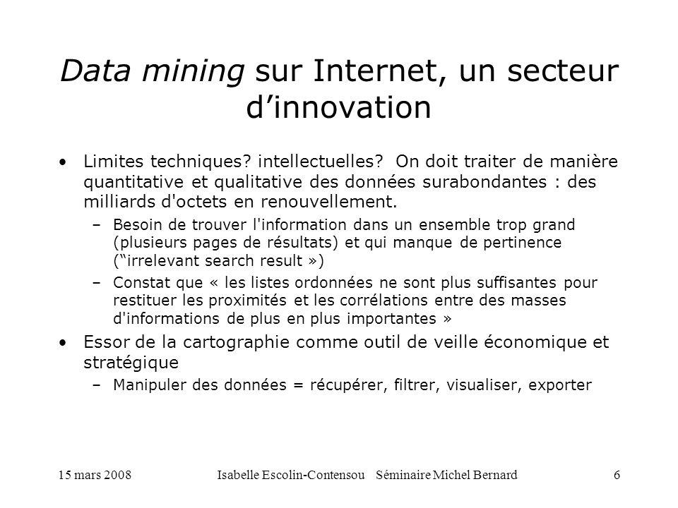 15 mars 2008Isabelle Escolin-Contensou Séminaire Michel Bernard6 Data mining sur Internet, un secteur dinnovation Limites techniques? intellectuelles?