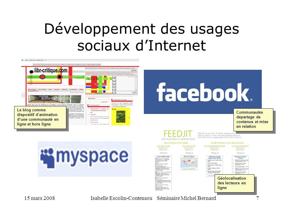 15 mars 2008Isabelle Escolin-Contensou Séminaire Michel Bernard7 Développement des usages sociaux dInternet Communautés departage de contenus et mise