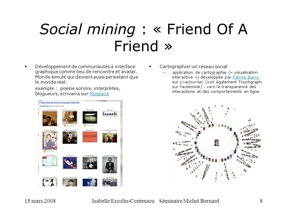 15 mars 2008Isabelle Escolin-Contensou Séminaire Michel Bernard8 Social mining : « Friend Of A Friend » Développement de communautés à interface graph