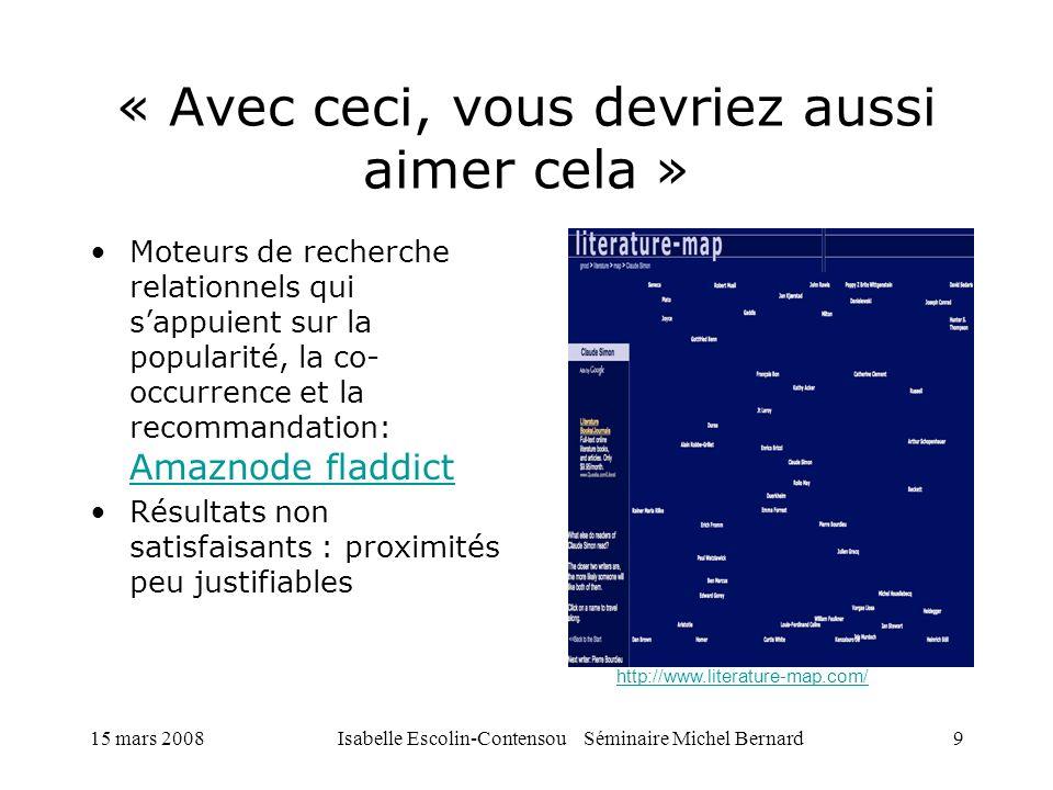15 mars 2008Isabelle Escolin-Contensou Séminaire Michel Bernard20 Grokker Carte interactive Interrogation par date, mot clé, domaine, sources Exportation des résultats dans différents formats, et vers bibliographies Affichage détaillé