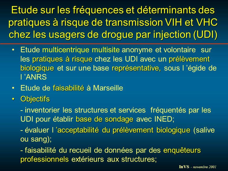 Etude sur les fréquences et déterminants des pratiques à risque de transmission VIH et VHC chez les usagers de drogue par injection (UDI) pratiques à risqueprélèvement biologiquereprésentative,Etude multicentrique multisite anonyme et volontaire sur les pratiques à risque chez les UDI avec un prélèvement biologique et sur une base représentative, sous l égide de l ANRS faisabilitéEtude de faisabilité à Marseille ObjectifsObjectifs base de sondage - inventorier les structures et services fréquentés par les UDI pour établir base de sondage avec INED; acceptabilité du prélèvement biologique - évaluer l acceptabilité du prélèvement biologique (salive ou sang); enquêteurs professionnels - faisabilité du recueil de données par des enquêteurs professionnels extérieurs aux structures; InVS - novembre 2001