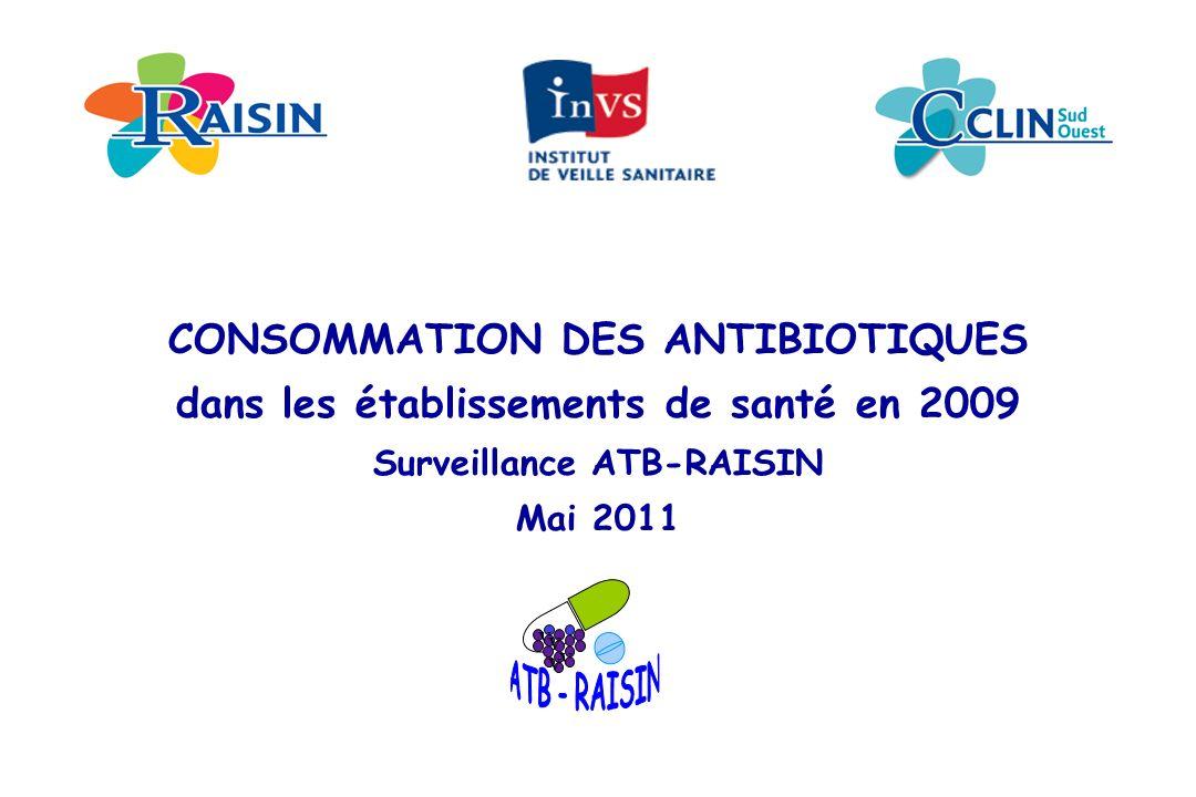 CONSOMMATION DES ANTIBIOTIQUES dans les établissements de santé en 2009 Surveillance ATB-RAISIN Mai 2011 v v v v
