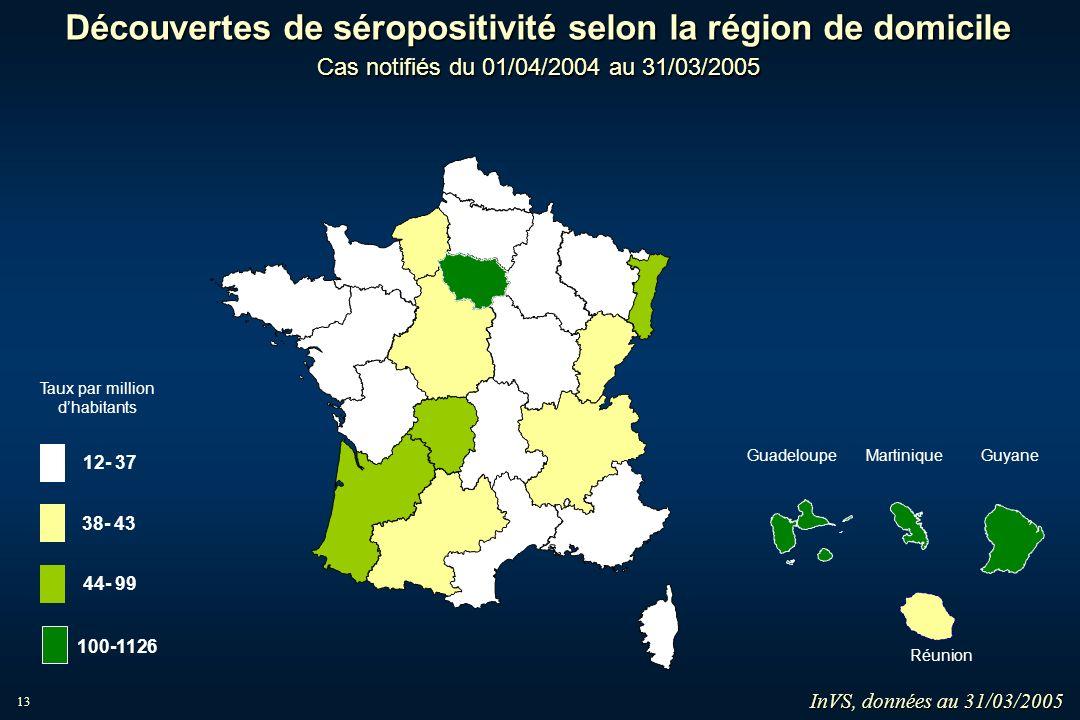 13 Découvertes de séropositivité selon la région de domicile Cas notifiés du 01/04/2004 au 31/03/2005 MartiniqueGuadeloupe Guyane Réunion InVS, donnée