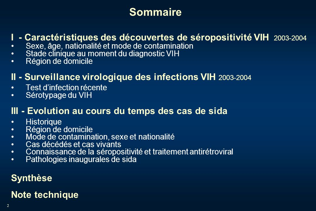 53 6- Surveillance virologique du VIH (1) : principes Consiste en deux examens : Test dinfection récente (1) (<= 6 mois) Test Elisa basé sur la détection d anticorps spécifiques dirigés contre lépitope immunodominant (IDE) de la gp41 et la région V3 Sérotypage (2) Détermination des VIH-1 et VIH-2 et parmi les VIH-1, des groupes et sous-types Objectifs de santé publique : Caractériser les personnes récemment infectées Estimer lincidence du VIH, en lien avec les données de dépistage Surveiller les sous-types circulants au niveau national pour tous les nouveaux diagnostics dinfection à VIH (2) Barin F et al.