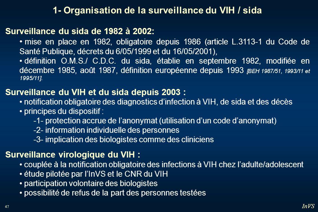 47 1- Organisation de la surveillance du VIH / sida Surveillance du sida de 1982 à 2002: mise en place en 1982, obligatoire depuis 1986 (article L.311