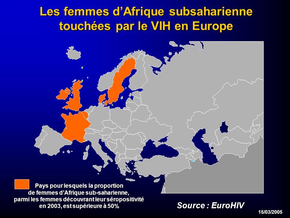 15/03/2005 Les femmes dAfrique subsaharienne touchées par le VIH en Europe Pays pour lesquels la proportion de femmes dAfrique sub-saharienne, parmi les femmes découvrant leur séropositivité en 2003, est supérieure à 50% Source : EuroHIV
