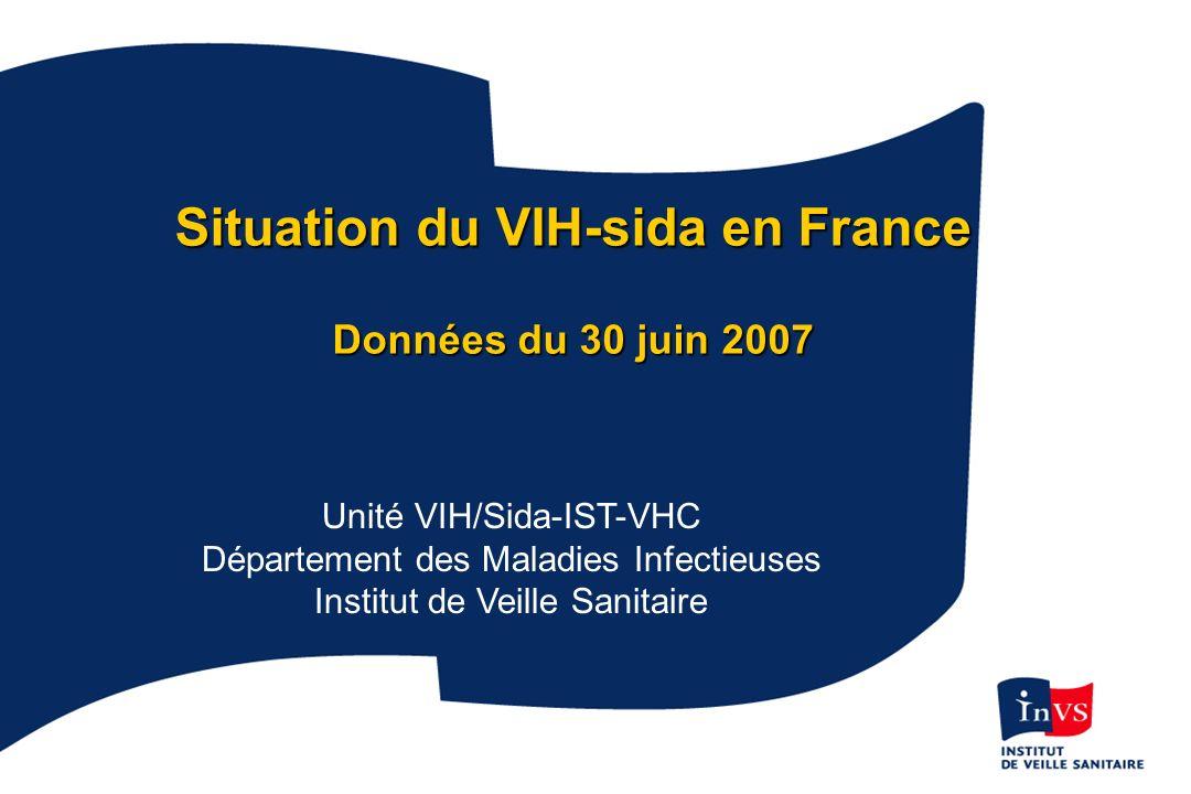1 Situation du VIH-sida en France Données du 30 juin 2007 Unité VIH/Sida-IST-VHC Département des Maladies Infectieuses Institut de Veille Sanitaire