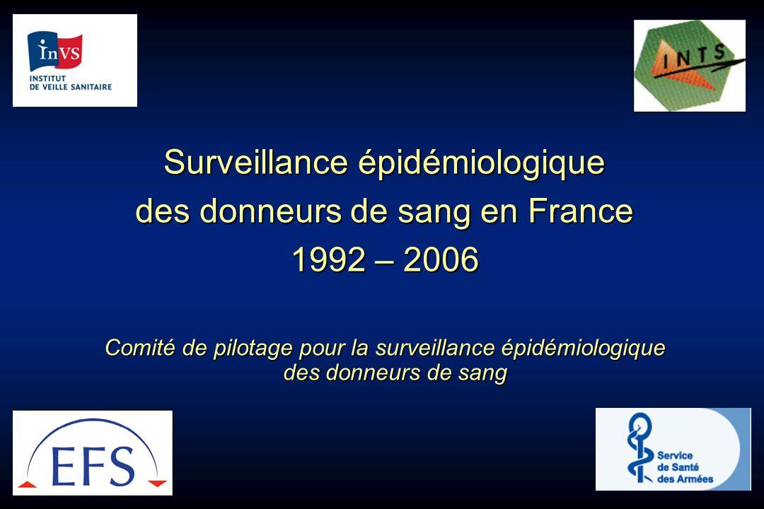 Surveillance épidémiologique des donneurs de sang en France 1992 – 2006 Comité de pilotage pour la surveillance épidémiologique des donneurs de sang