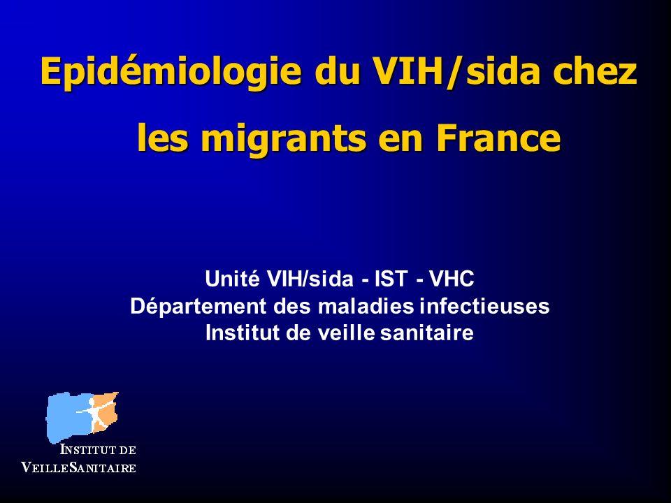 Epidémiologie du VIH/sida chez les migrants en France Unité VIH/sida - IST - VHC Département des maladies infectieuses Institut de veille sanitaire