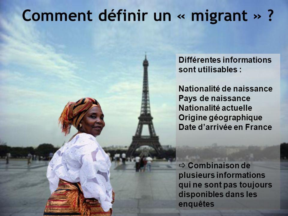 Différentes informations sont utilisables : Nationalité de naissance Pays de naissance Nationalité actuelle Origine géographique Date darrivée en Fran