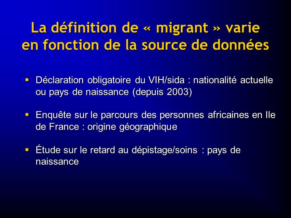 La définition de « migrant » varie en fonction de la source de données Déclaration obligatoire du VIH/sida : nationalité actuelle ou pays de naissance