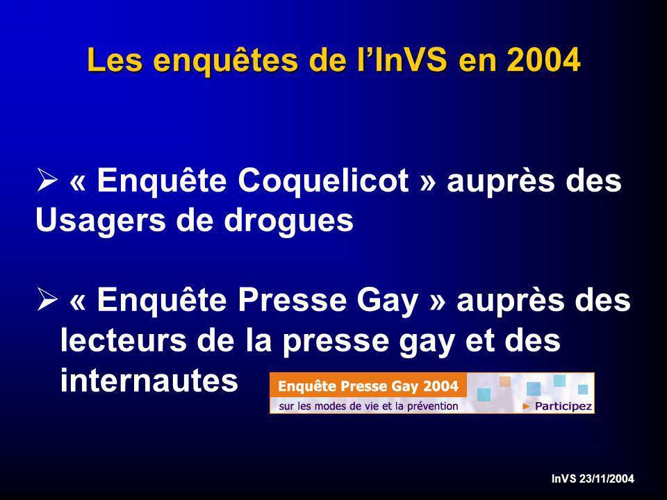 InVS 23/11/2004 Les enquêtes de lInVS en 2004 Ø « Enquête Coquelicot » auprès des Usagers de drogues Ø « Enquête Presse Gay » auprès des lecteurs de la presse gay et des internautes