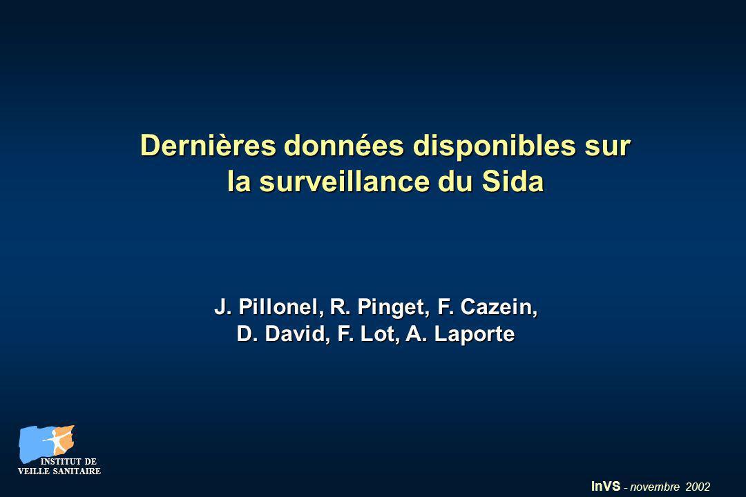 InVS - novembre 2002 INSTITUT DE VEILLE SANITAIRE INSTITUT DE VEILLE SANITAIRE Dernières données disponibles sur la surveillance du Sida J. Pillonel,