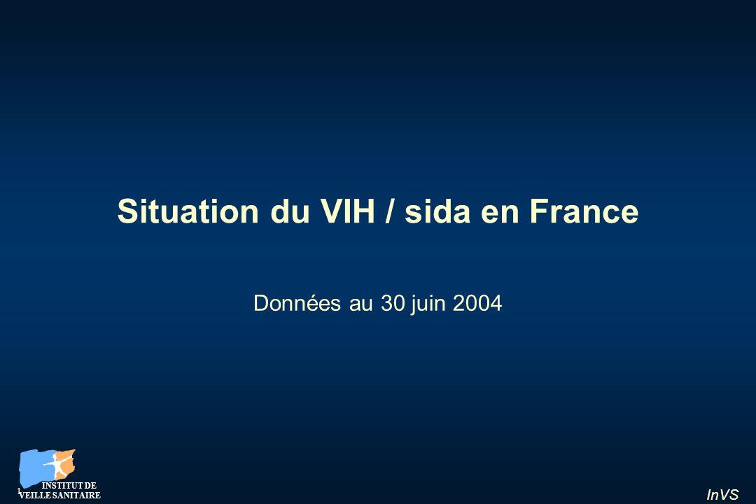 InVS 12 Répartition par nationalité Nouveaux diagnostics dinfection VIH et de sida, 2003 et 1 er semestre 2004 France, données au 30 juin 2004 VIHSida Afrique du Nord Afrique subsah.