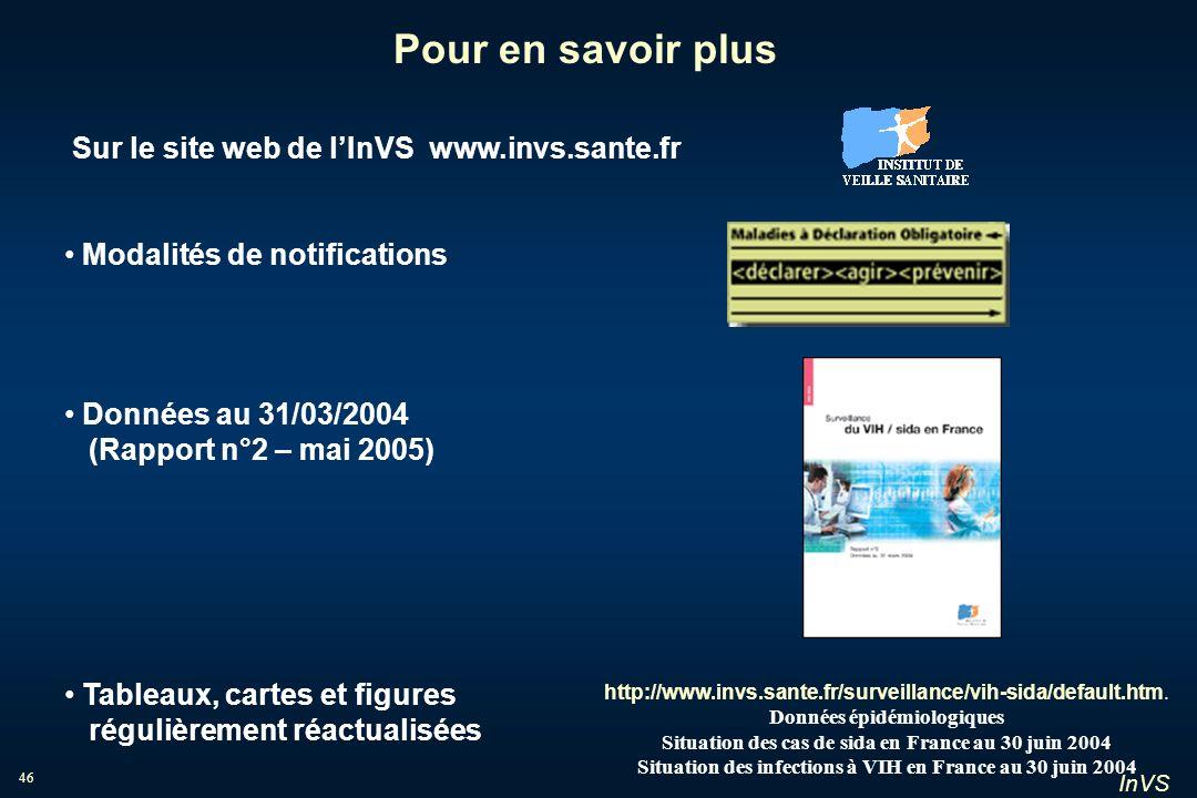 InVS 46 Sur le site web de lInVS www.invs.sante.fr Modalités de notifications Données au 31/03/2004 (Rapport n°2 – mai 2005) Tableaux, cartes et figur