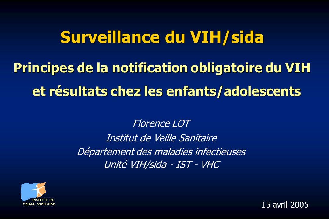 Surveillance du VIH/sida Principes de la notification obligatoire du VIH et résultats chez les enfants/adolescents Florence LOT Institut de Veille San