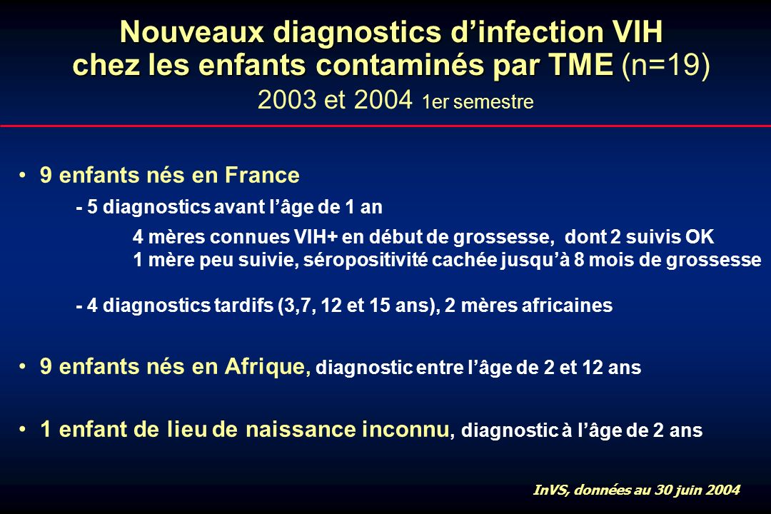 Nouveaux diagnostics dinfection VIH chez les enfants contaminés par TME Nouveaux diagnostics dinfection VIH chez les enfants contaminés par TME (n=19)