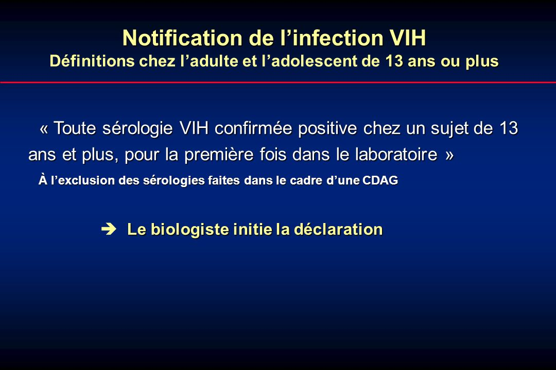 2 - anonymisation 5 4 321321 Biologiste DDASS Clinicien InVS - information du patient - table de correspondance - couplage - validation - - réanonymisation - - validation, élimination des doublons - saisie, analyse, retour dinformation Diagnostic dinfection VIH ( 13 ans)