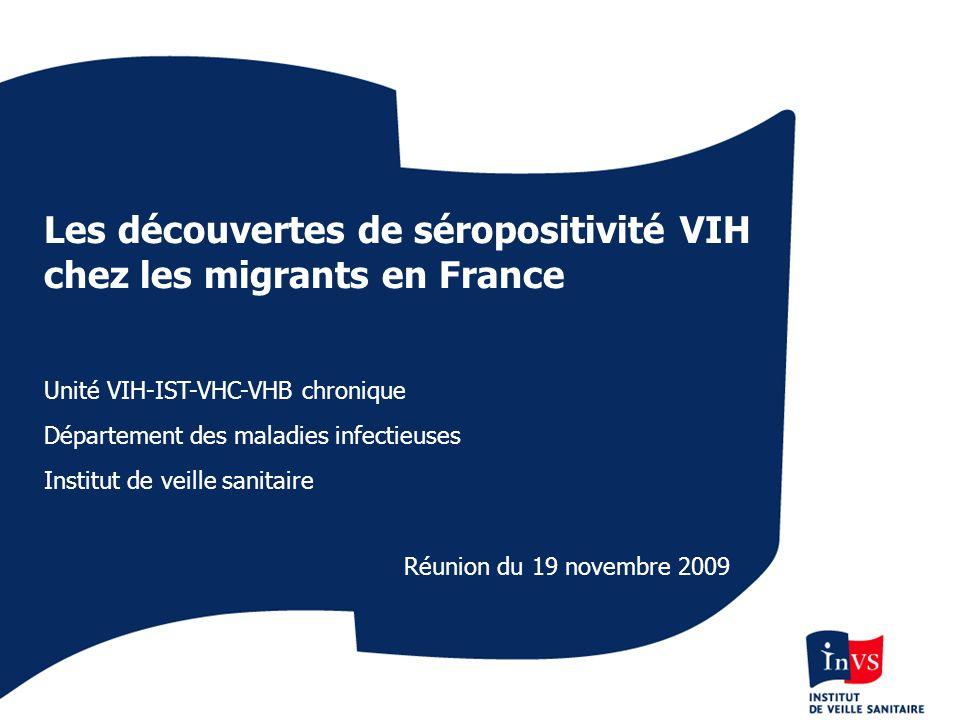 Les découvertes de séropositivité VIH chez les migrants en France Unité VIH-IST-VHC-VHB chronique Département des maladies infectieuses Institut de ve