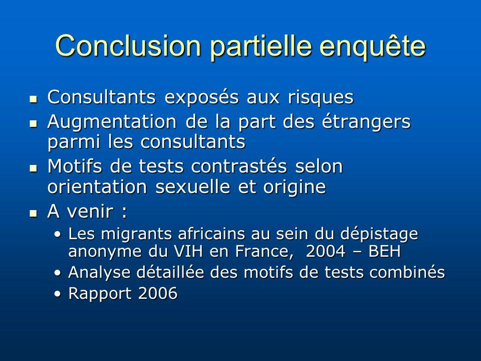 Conclusion partielle enquête Consultants exposés aux risques Consultants exposés aux risques Augmentation de la part des étrangers parmi les consultan
