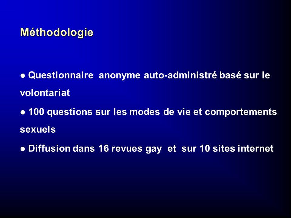 Méthodologie l Questionnaire anonyme auto-administré basé sur le volontariat l 100 questions sur les modes de vie et comportements sexuels l Diffusion