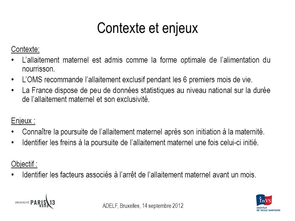 Contexte et enjeux Contexte: Lallaitement maternel est admis comme la forme optimale de lalimentation du nourrisson.