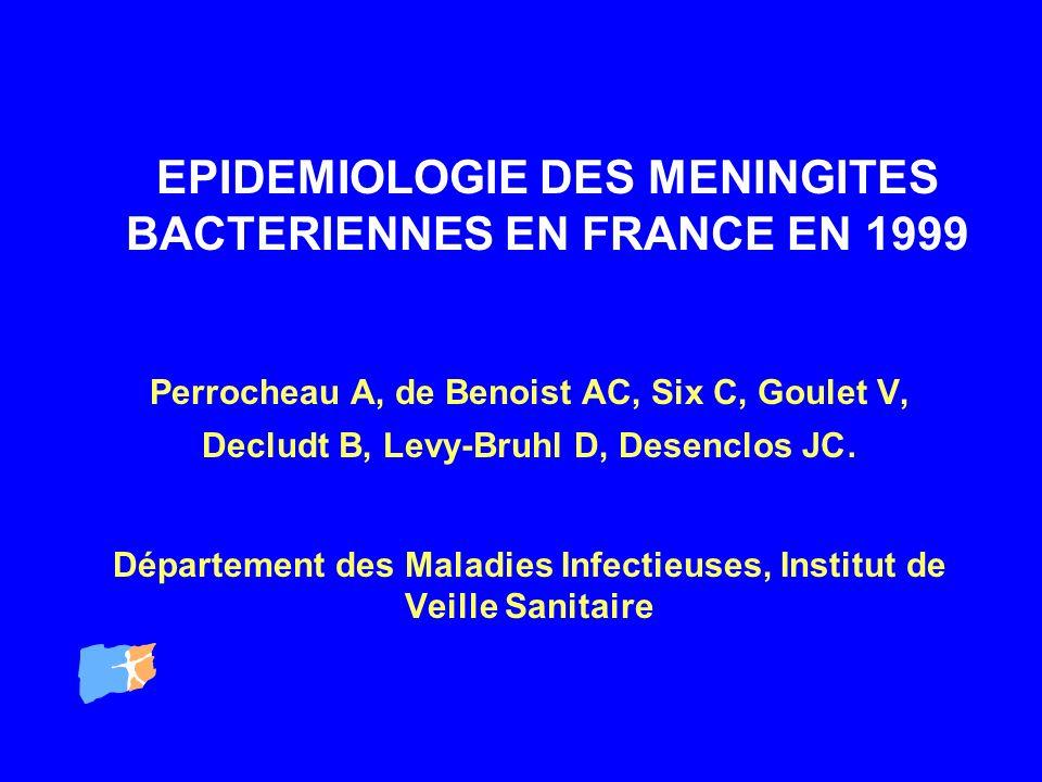 EPIDEMIOLOGIE DES MENINGITES BACTERIENNES EN FRANCE EN 1999 Perrocheau A, de Benoist AC, Six C, Goulet V, Decludt B, Levy-Bruhl D, Desenclos JC. Dépar