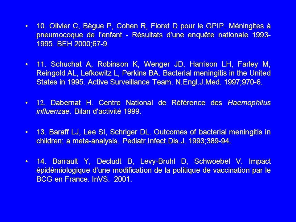 10. Olivier C, Bègue P, Cohen R, Floret D pour le GPIP. Méningites à pneumocoque de l'enfant - Résultats d'une enquête nationale 1993- 1995. BEH 2000;