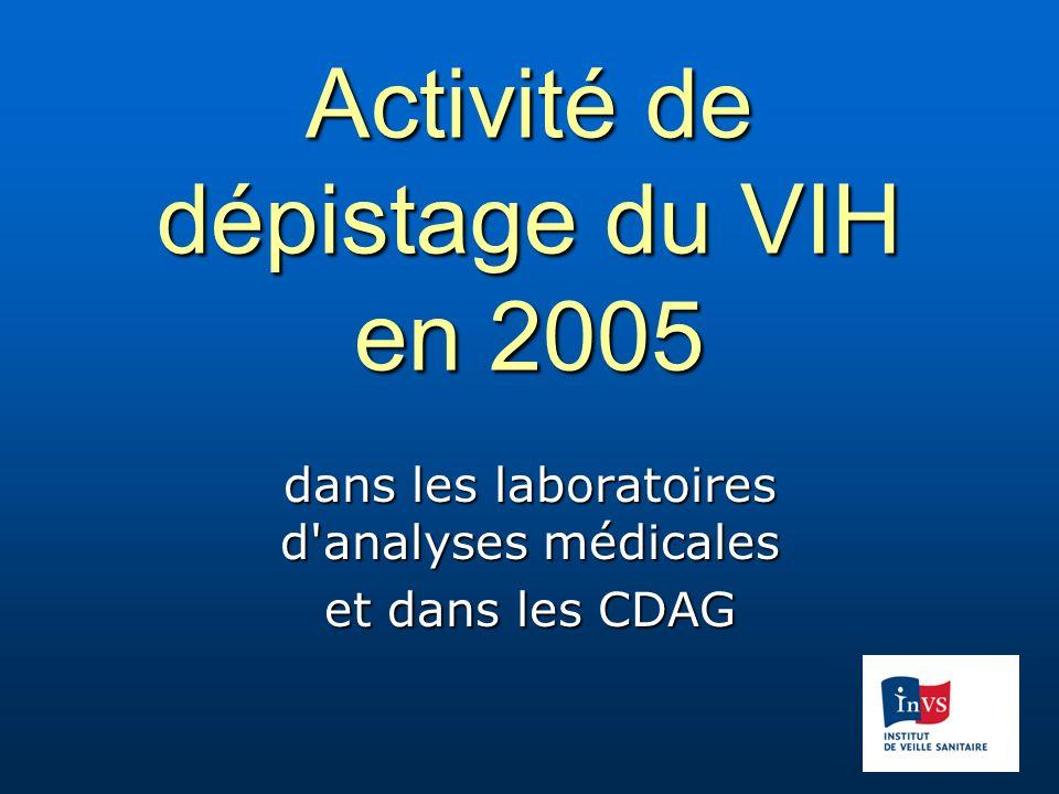 Activité de dépistage du VIH en 2005 dans les laboratoires d analyses médicales et dans les CDAG
