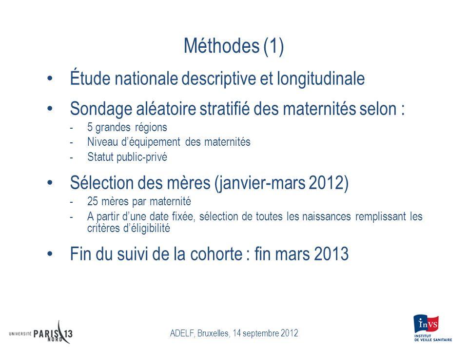 Méthodes (1) Étude nationale descriptive et longitudinale Sondage aléatoire stratifié des maternités selon : -5 grandes régions -Niveau déquipement de