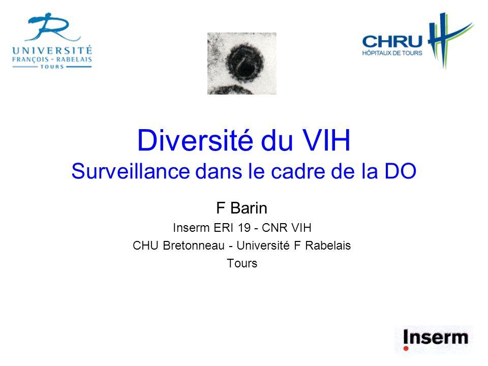 Diversité du VIH Surveillance dans le cadre de la DO F Barin Inserm ERI 19 - CNR VIH CHU Bretonneau - Université F Rabelais Tours