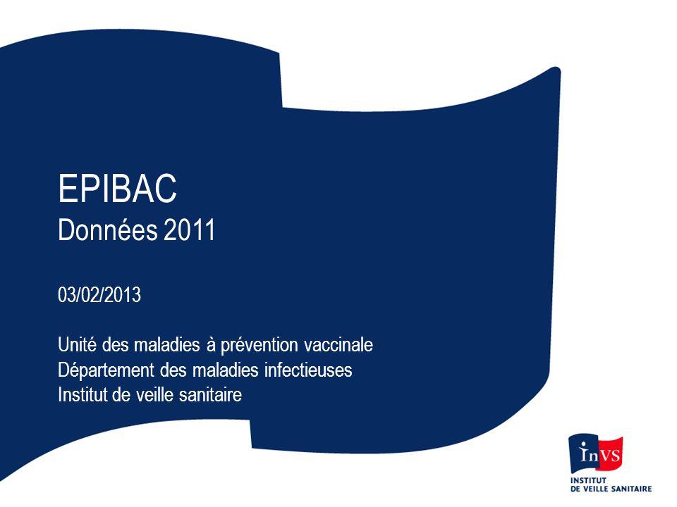 EPIBAC Données 2011 03/02/2013 Unité des maladies à prévention vaccinale Département des maladies infectieuses Institut de veille sanitaire