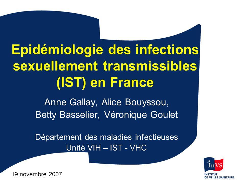 Patient (symptomatique ou non) consultation Diagnostic clinique de Syphilis, Gonocoques & LGV rectales InVS Validation/saisie/analyses Diffusion / rétroinformation Diagnostic positif Gonocoques (Renago) Chlamydia (LGV, Renachla) CNR Gonocoques Chlamydia Réseau de cliniciens volontaires Réseaux de laboratoires volontaires Organisation de la surveillance des IST
