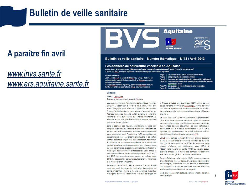 Bulletin de veille sanitaire 15 A paraître fin avril www.invs.sante.fr www.ars.aquitaine.sante.fr