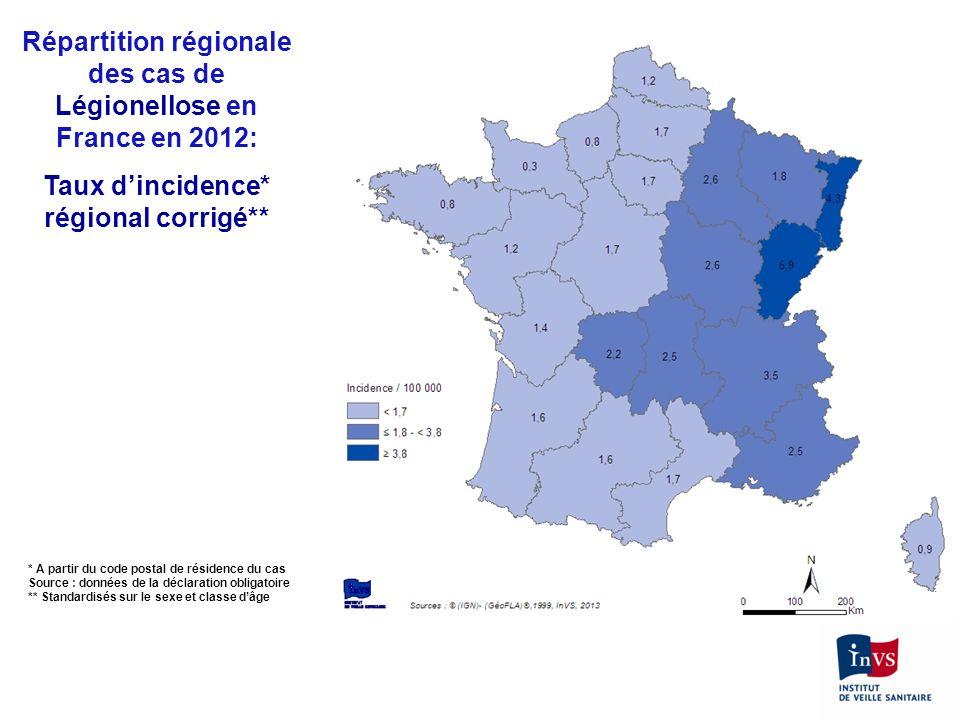 Répartition régionale des cas de Légionellose en France en 2012: Taux dincidence* régional corrigé** * A partir du code postal de résidence du cas Sou