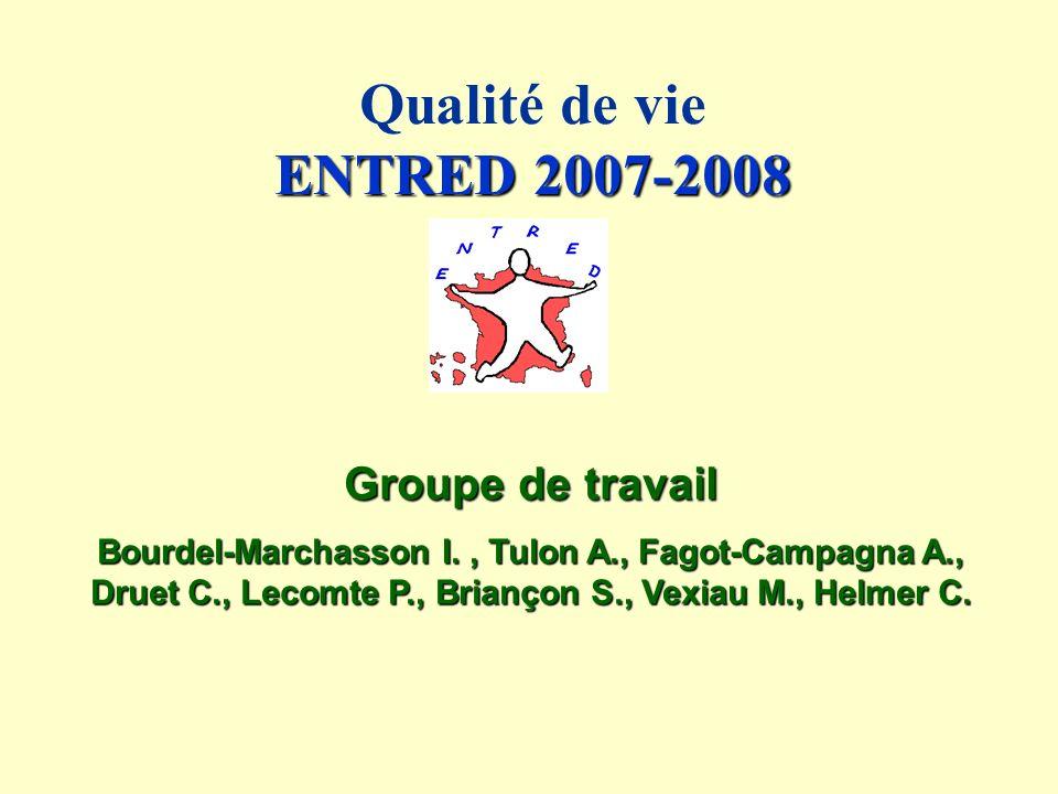 ENTRED 2007-2008 Qualité de vie ENTRED 2007-2008 Groupe de travail Bourdel-Marchasson I., Tulon A., Fagot-Campagna A., Druet C., Lecomte P., Briançon S., Vexiau M., Helmer C.
