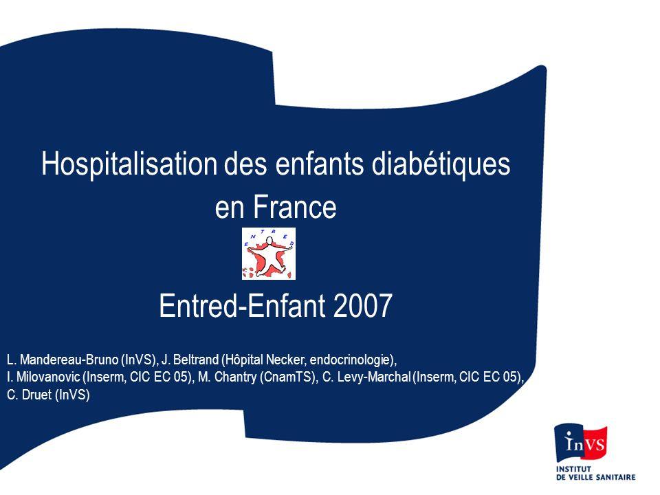 Hospitalisation des enfants diabétiques en France Entred-Enfant 2007 L. Mandereau-Bruno (InVS), J. Beltrand (Hôpital Necker, endocrinologie), I. Milov