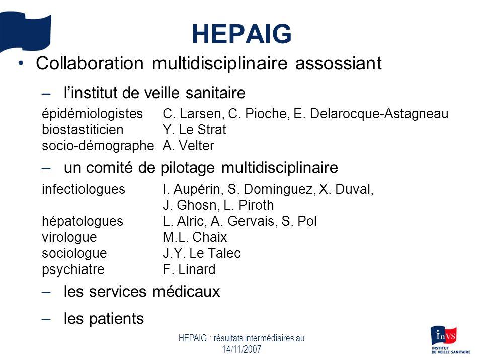 HEPAIG : résultats intermédiaires au 14/11/2007 HEPAIG Collaboration multidisciplinaire assossiant –linstitut de veille sanitaire épidémiologistes C.