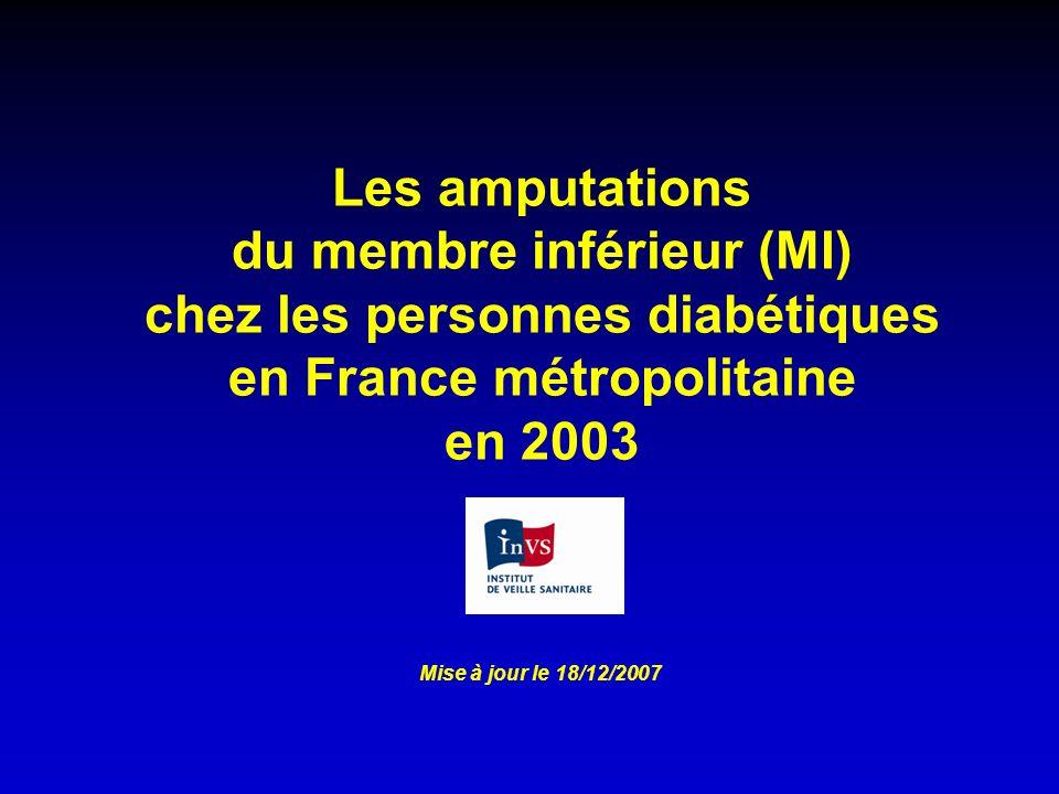 Les amputations du membre inférieur (MI) chez les personnes diabétiques en France métropolitaine en 2003 Mise à jour le 18/12/2007