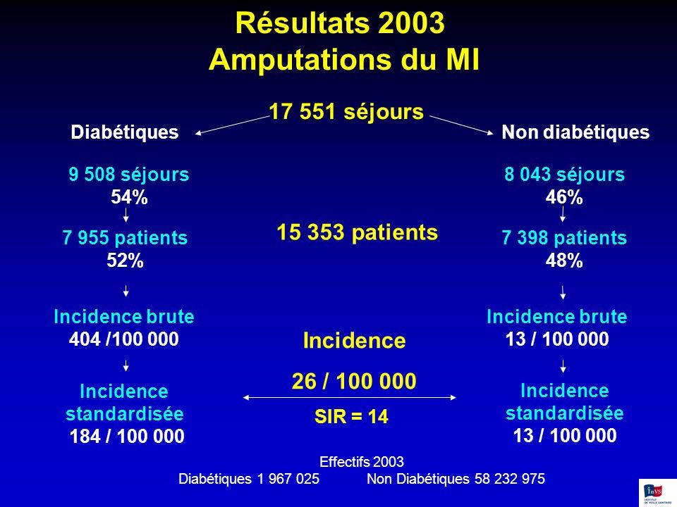 Résultats 2003 Amputations du MI 17 551 séjours 9 508 séjours 54% 8 043 séjours 46% 7 955 patients 52% 7 398 patients 48% Incidence brute 404 /100 000
