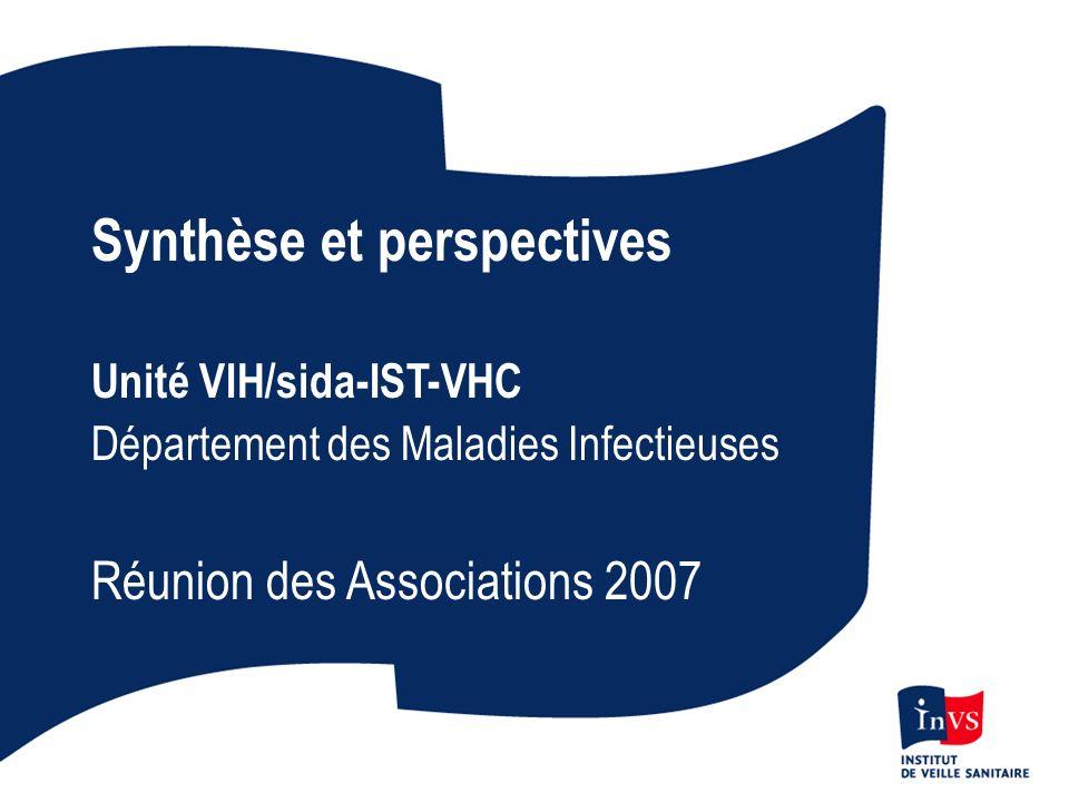 Synthèse et perspectives Unité VIH/sida-IST-VHC Département des Maladies Infectieuses Réunion des Associations 2007