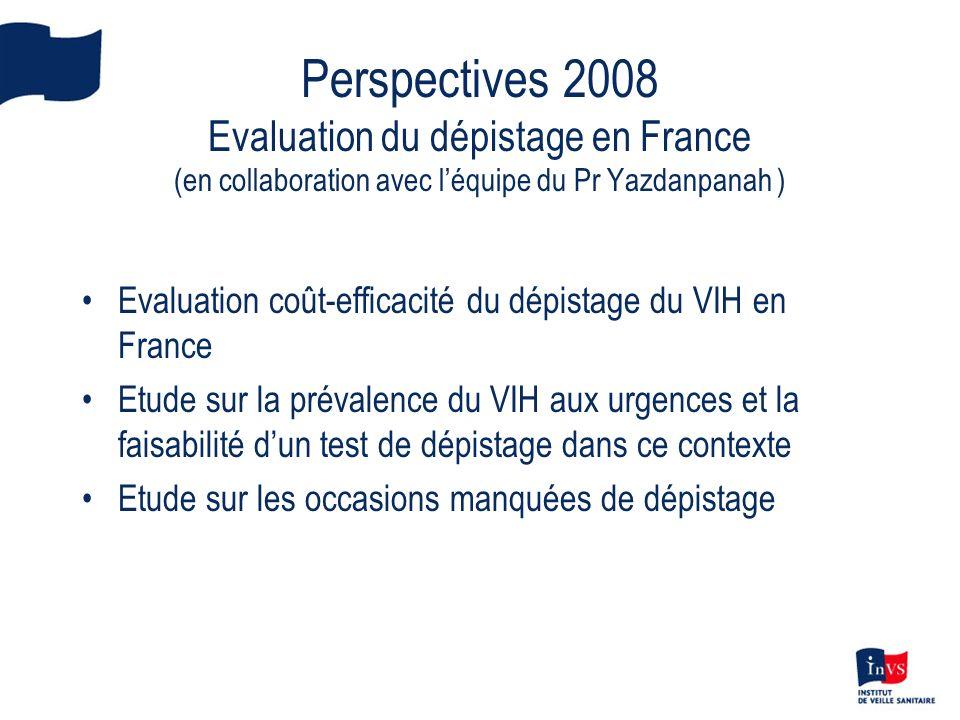Perspectives 2008 Evaluation du dépistage en France (en collaboration avec léquipe du Pr Yazdanpanah ) Evaluation coût-efficacité du dépistage du VIH en France Etude sur la prévalence du VIH aux urgences et la faisabilité dun test de dépistage dans ce contexte Etude sur les occasions manquées de dépistage