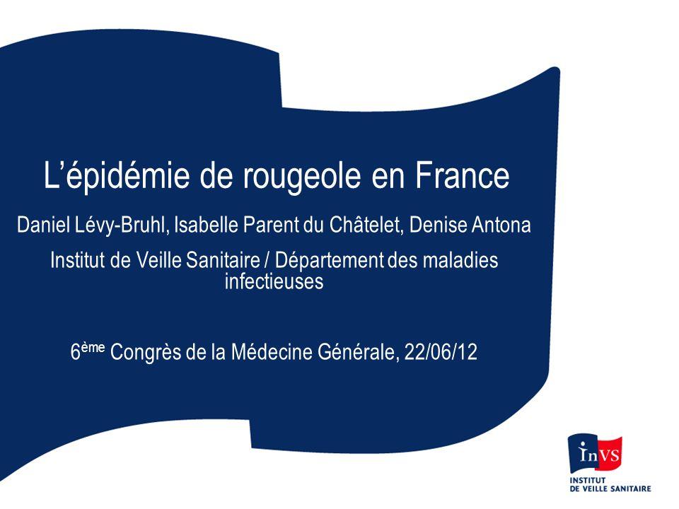 Cas de rougeole par mois - Déclaration obligatoire, France Janvier 2008 – Décembre 2011 Total cas > 22 000 Pneumonies graves > 1000 Encéphalites : 26 Décès : 10