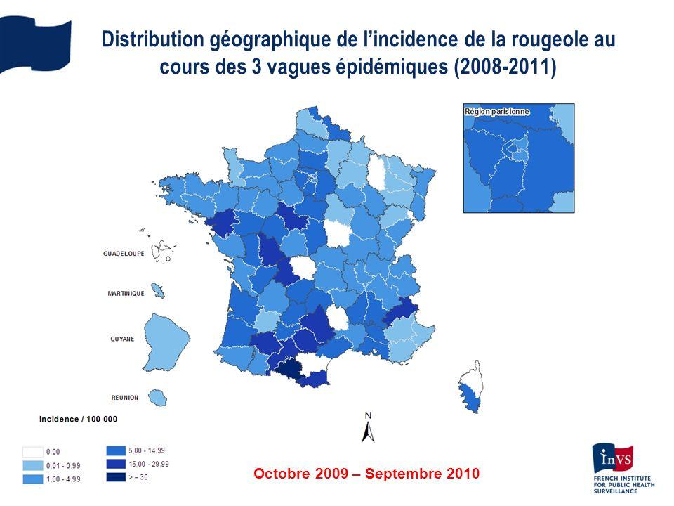 Octobre 2009 – Septembre 2010 Distribution géographique de lincidence de la rougeole au cours des 3 vagues épidémiques (2008-2011)