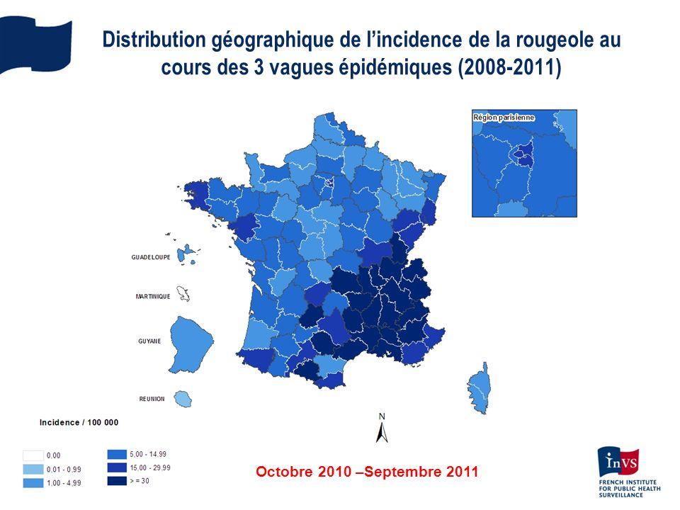 Octobre 2010 –Septembre 2011 Distribution géographique de lincidence de la rougeole au cours des 3 vagues épidémiques (2008-2011)