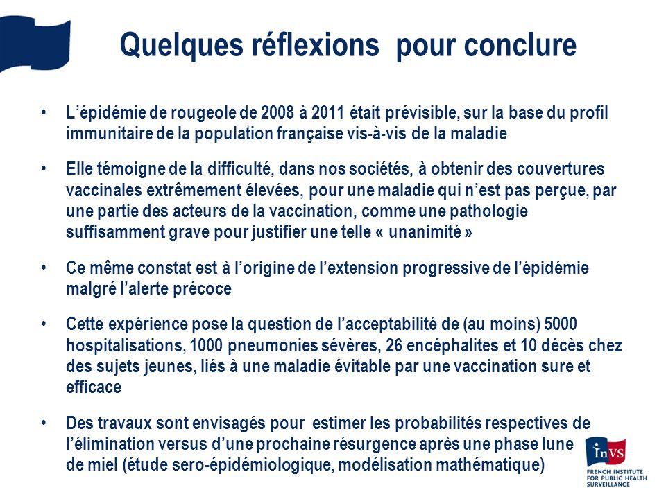 Quelques réflexions pour conclure Lépidémie de rougeole de 2008 à 2011 était prévisible, sur la base du profil immunitaire de la population française
