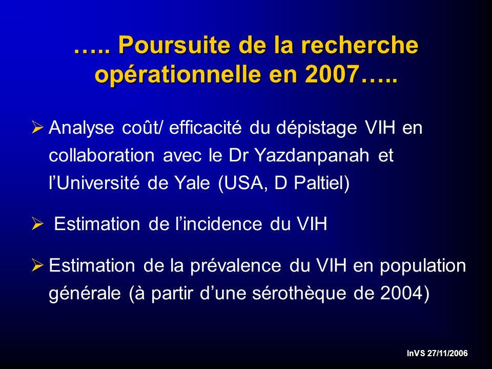 InVS 27/11/2006 ….. Poursuite de la recherche opérationnelle en 2007…..