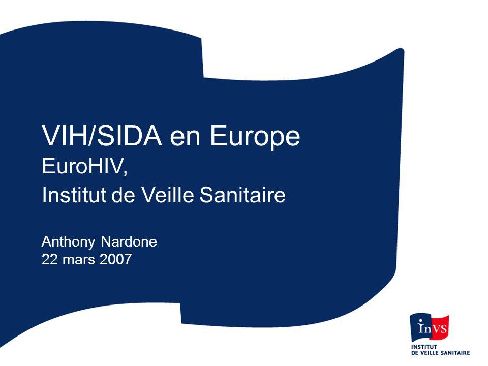 Taux de VIH nouvellement diagnostiqués (par million dhabitants) déclaré en 2005, OMS Europe Cas par million < 20 20-99 100-199 200 + Données non disponibles * < 20 20-99 100-199 200 + < 20 20-99 100-199 200 + Source: EuroHIV