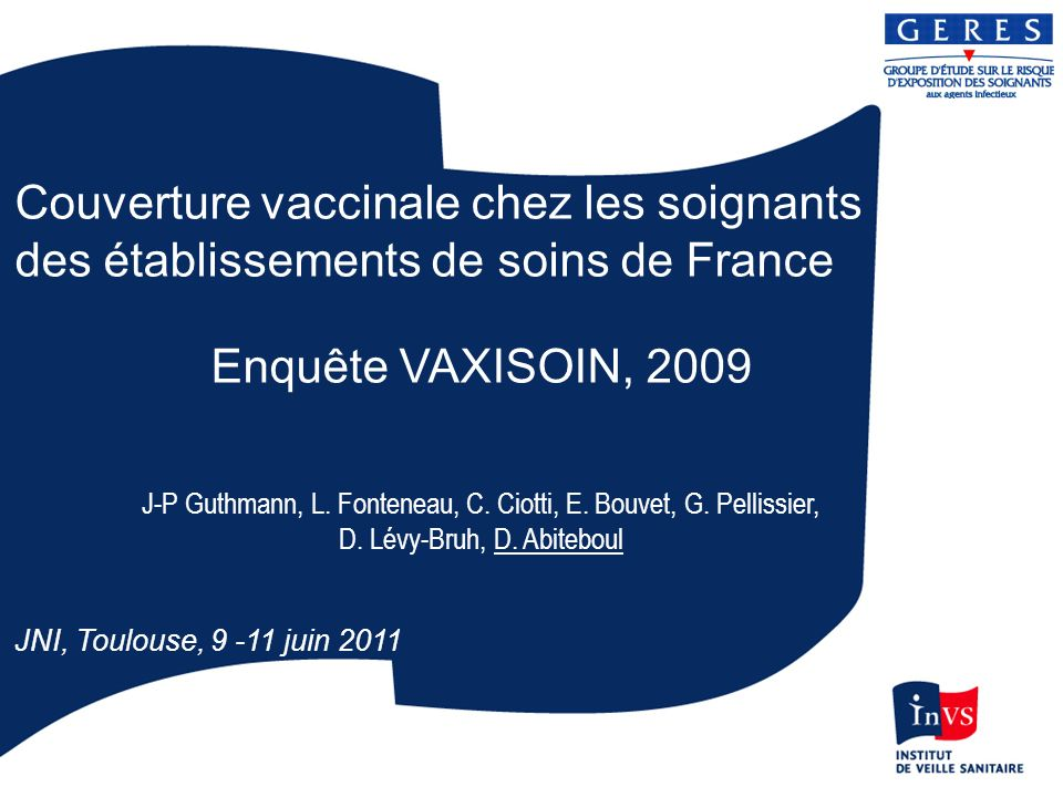 Variation des couvertures pour les vaccinations recommandées Les moins de 30 ans sont significativement mieux vaccinés contre la coqueluche (24%) et la rougeole (96%) Les soignants de pédiatrie-maternité sont mieux vaccinés contre la coqueluche (31%) et la grippe (58%) Les sage-femmes (45%) sont mieux vaccinées contre la coqueluche que les autres soignants Les médecins (55%) sont mieux vaccinés contre la grippe que les infirmiers (24%), les sages-femmes (22%) et les aides- soignants (19%).