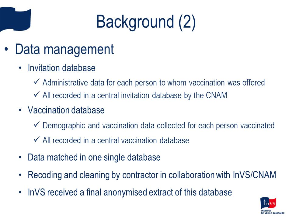 Data management Invitation database Administrative data for each person to whom vaccination was offered All recorded in a central invitation database
